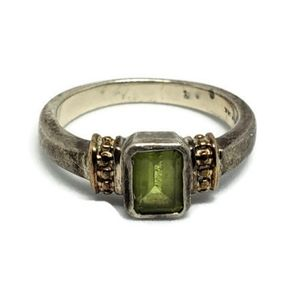 Peridot 14k Gold Sterling Silver Ring
